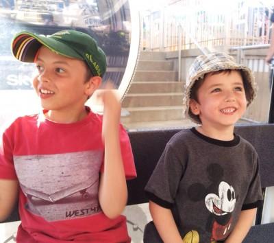 Sons enjoying a ride on the Skywheel in Niagara Falls.