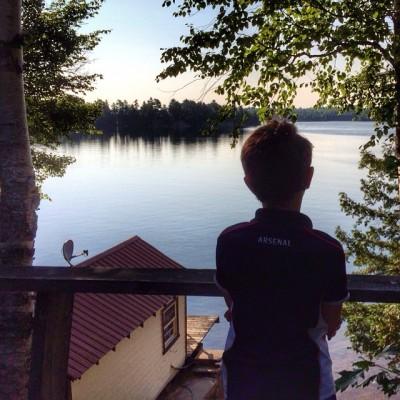 My oldest son enjoying the view in Kawartha Lakes, Ontario.