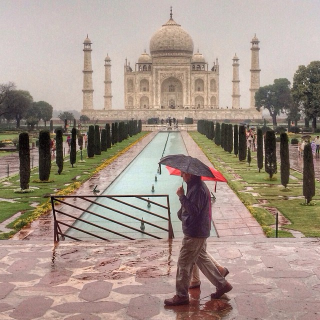 A rainy day at the Taj Mahal in Agra, India - March 2015.