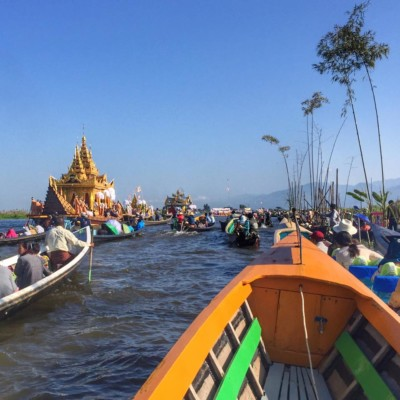 Joining the procession at the Phaung Daw Oo Pagoda Festival in Inle Lake, Myanmar