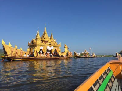 The Karaweik barge carrying 4 images of Buddha during the Phaung Daw Oo Pagoda Festival in Inle Lake, Myanmar