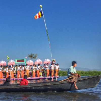 The lead boat in the Phaung Daw Oo Pagoda Festival procession on Inle Lake, October 2015