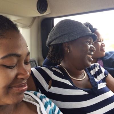 Aviwe, Esther & Yolanda travelling in the combi (van).