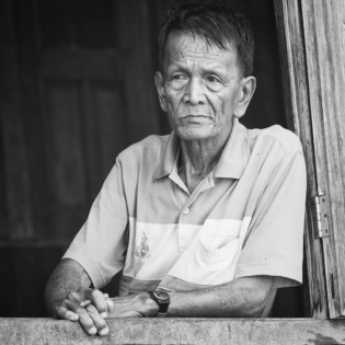 Inle Lake Myanmar portrait in black and white
