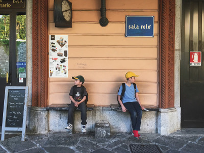 Waiting for the train at Varenna Esino train station in Italy
