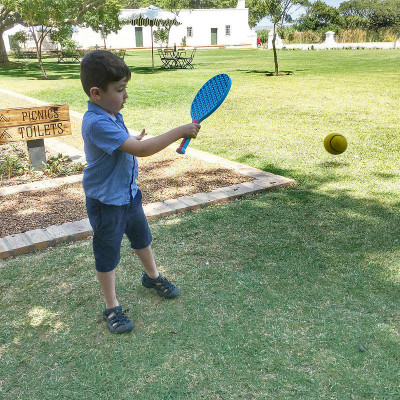Son playing sports at Vergenoegd