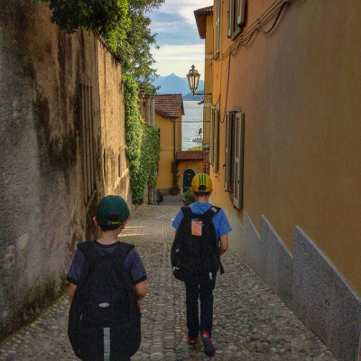 walking in varenna with family