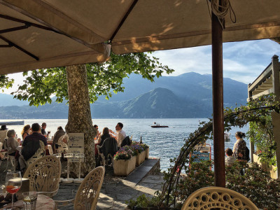 Lakeside patio views from Bar Il Molo in Varenna, Italy.